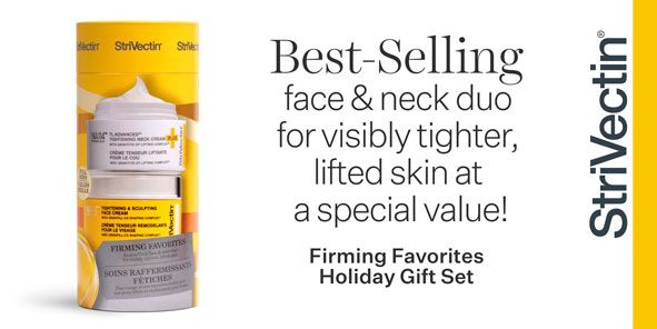 Best Selling face and neck duo for visibly tighter, lifted skin at a special value, Firming Favorites Holiday Gift Set, Strivectin