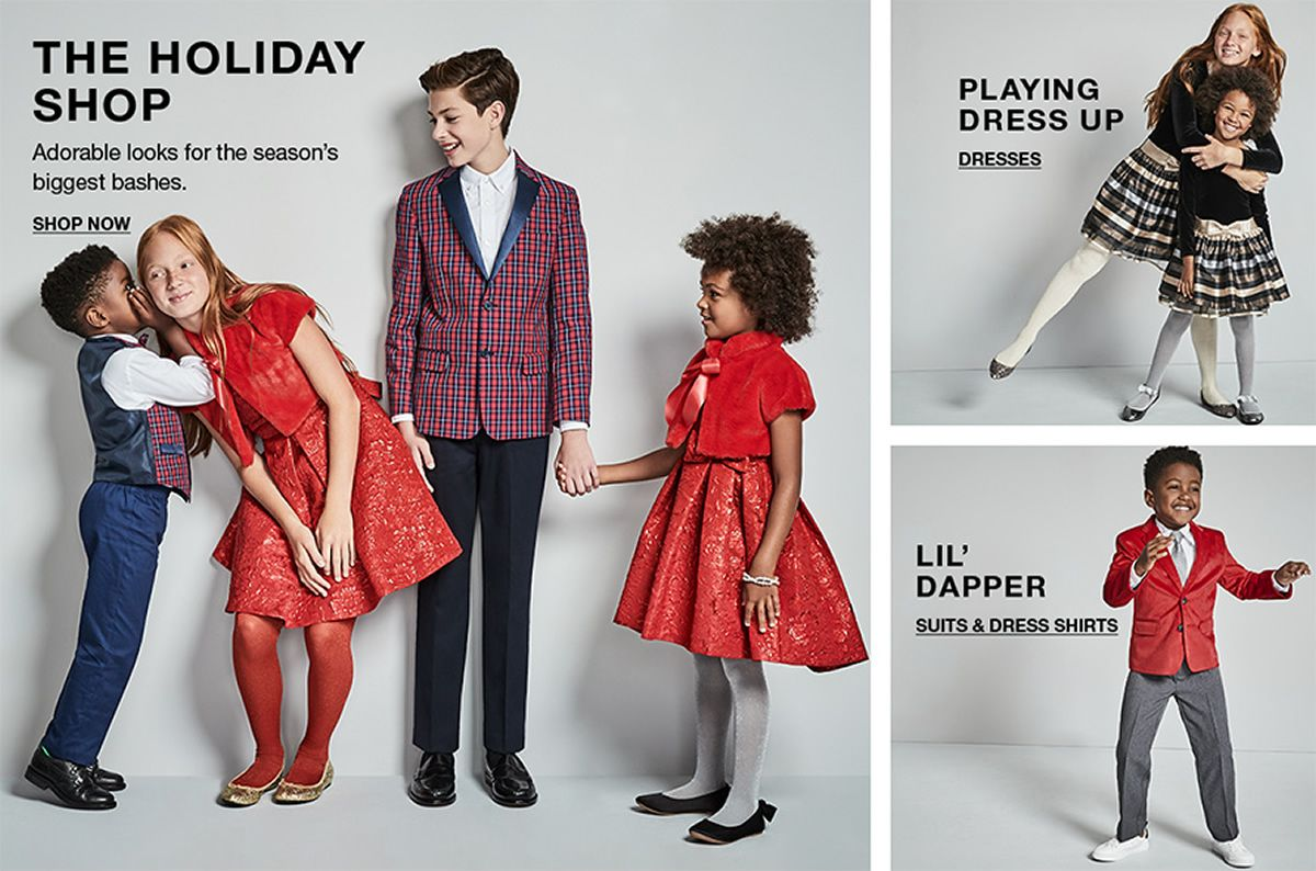 The Holiday Shop, Shop Now, Playing Dress up, Dresses, Lil' Dapper, Suits and Dress Shirts