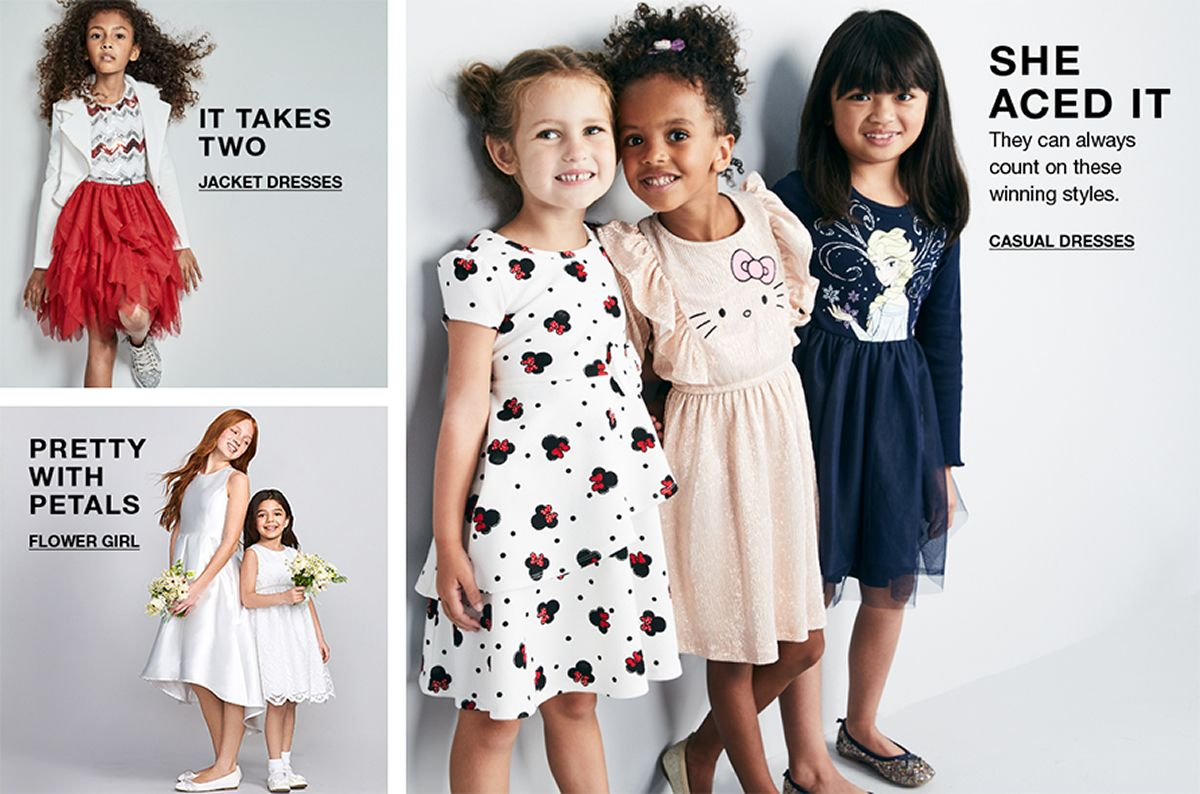 It Takes Two, Jacket Dresses, She Aced it, They can always, count on these wining styles, Casual, Dresses, Pretty With Petals, Flower Girl