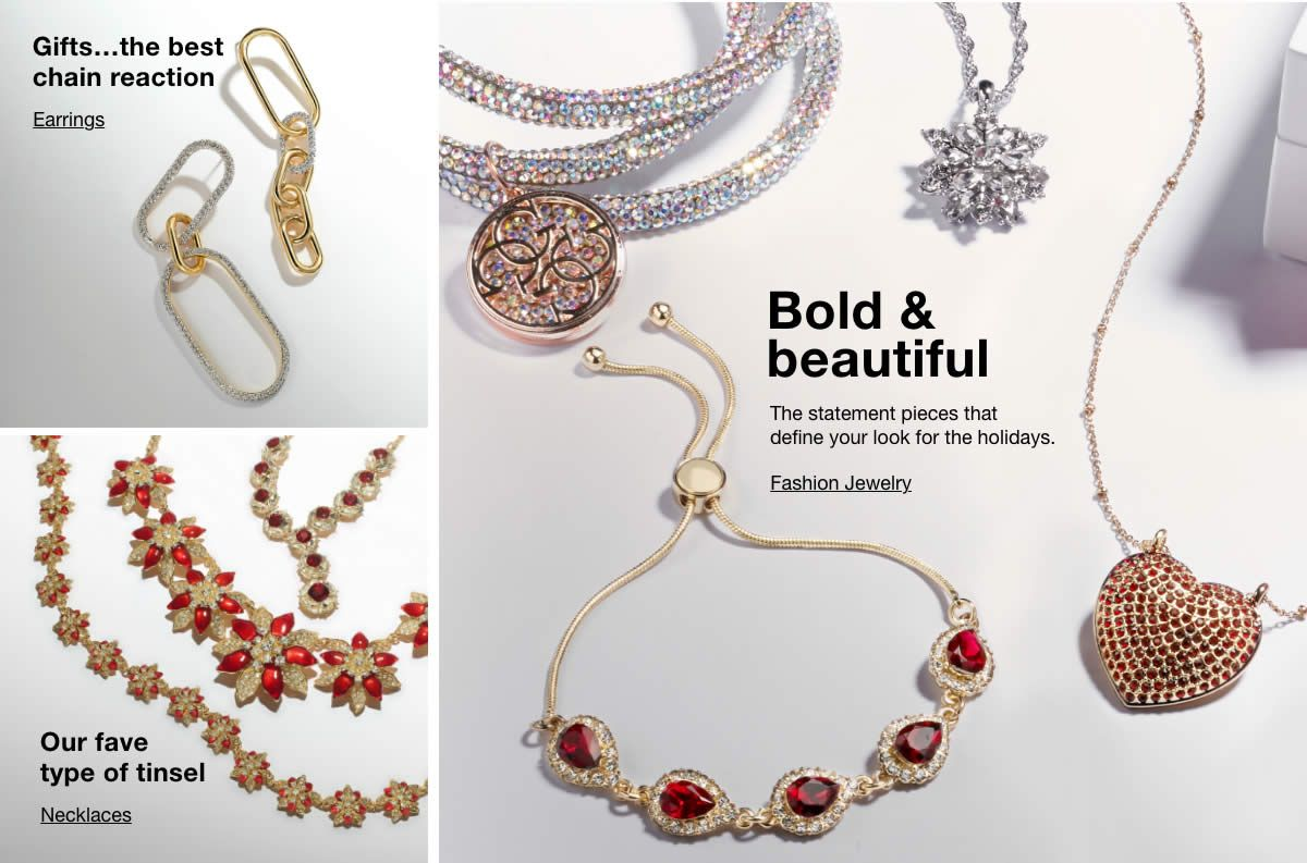 Gifts…the best chain reaction, Earrings, Our fave type of tinsel, Necklaces, Bold and beautiful, Fashion Jewelry