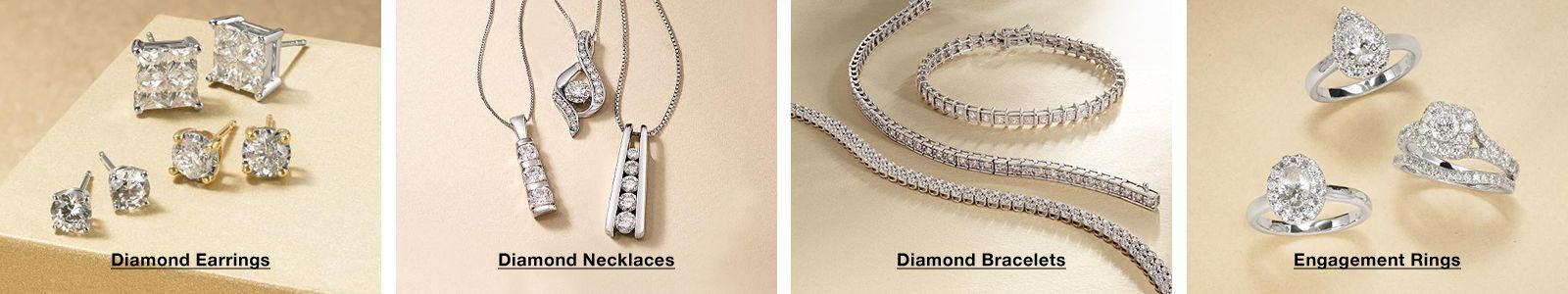 Diamond Earrings, Diamond Necklaces, Diamond Bracelets, Engagement Rings