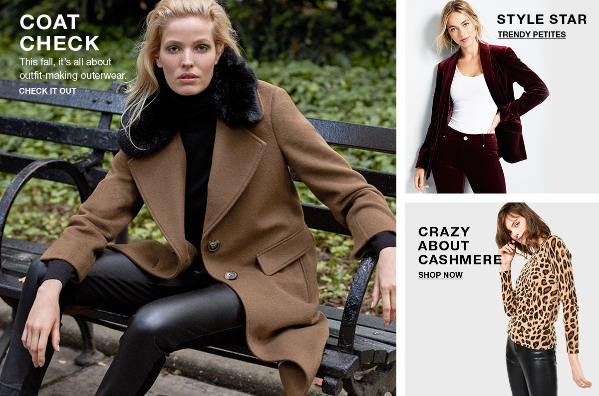 Coat Check, This fall, it's all about outfit-making outerwear, Check it Out, Style Star, Trendy Petites, Crazy About Cashmere, Shop Now