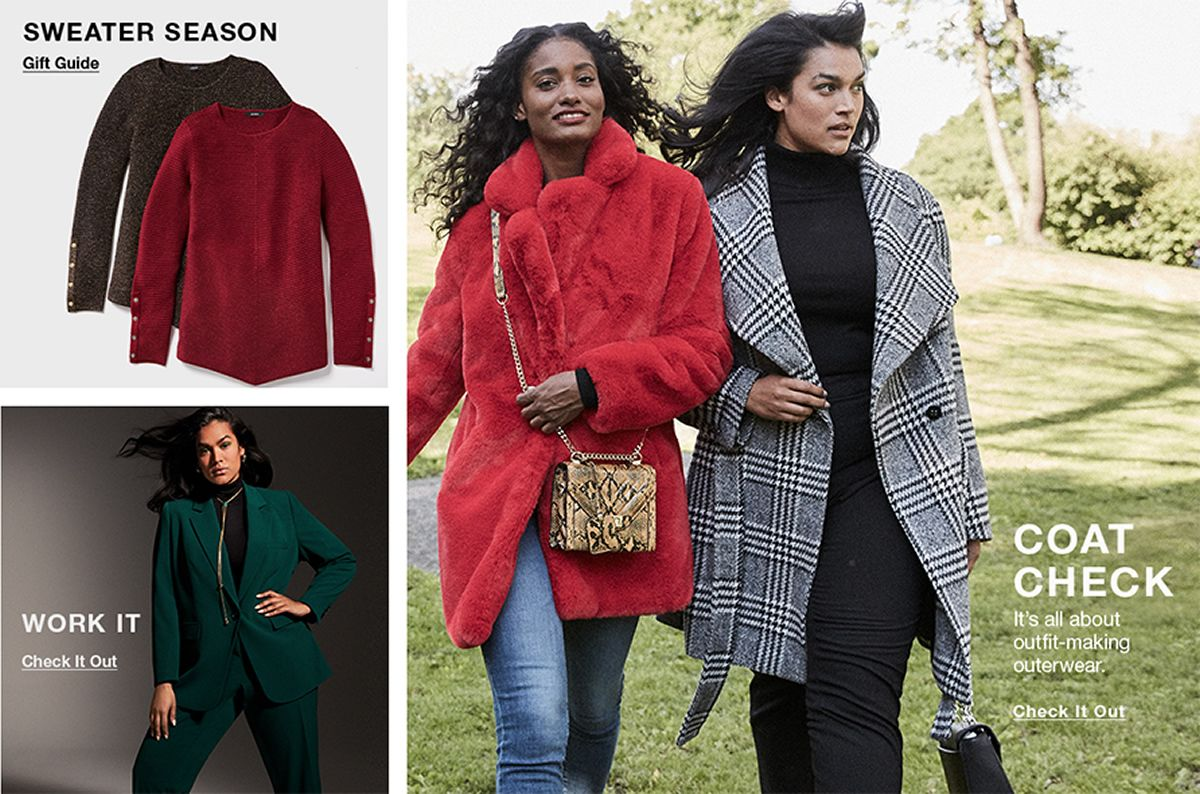 Sweater Season, Gift Guide, Work it, Check it Out, Coat Check, It's all about outfit-making outerwear, Check it Out