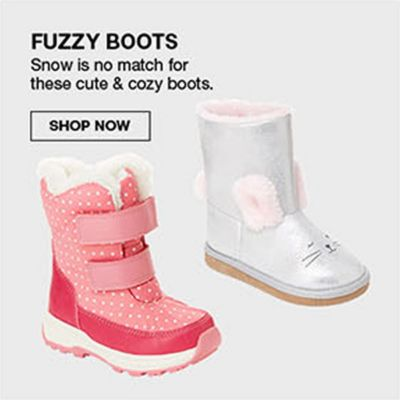 Fuzzy Boots, Snow is no match for these cute and cozy boots, Shop Now