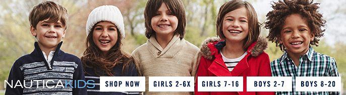 Nautica Kids, Shop Now, Girls 2-6X, Girls 7-16, Boys 2-7, Boys 8-20
