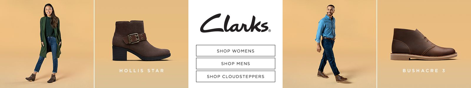 Hollis Star, Clarks, Shop Womens, Shop Mens, Shop Cloudsteppers Bushacre