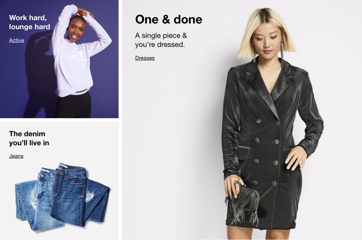Work hard lounge hard , Active, The denim you'll live in, Jeans, One  and done , Dresses