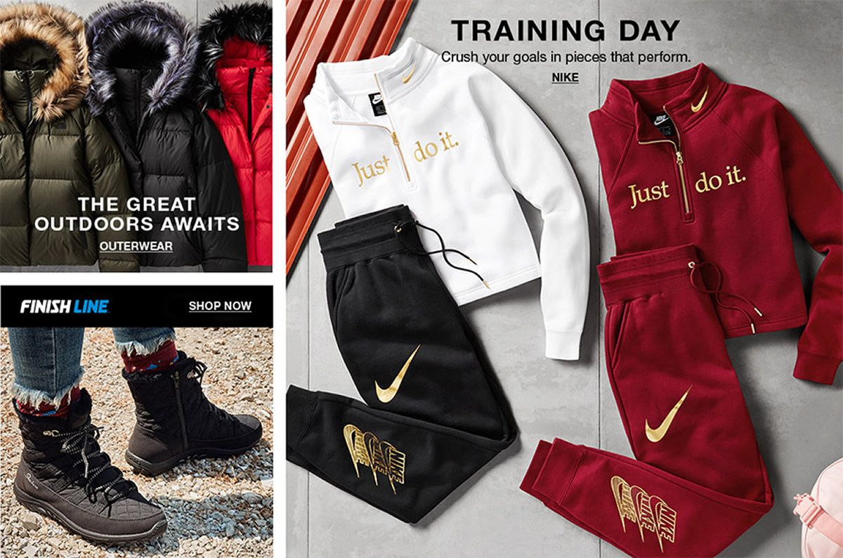 The Great Outdoors Awaits, Outerwear, Finish Line Shop Now, Training Day, Nike