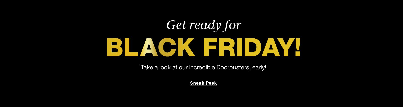 Get ready for, Black Friday! Take a look at our incredible Doorbusters, early! Sneak Peek