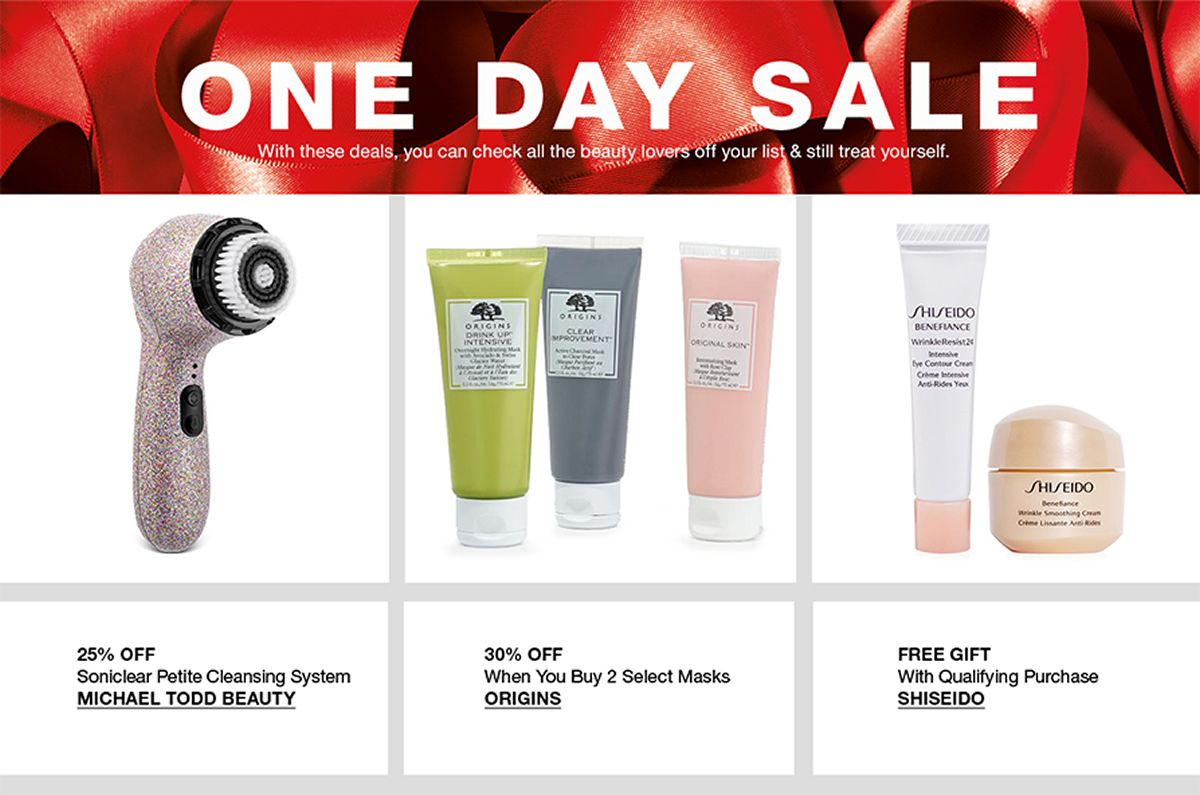 One Day Sale, 25 Percent off, Michael Todd Beauty, 30 percent off, Origins, Free Gift, Shiseido