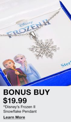 Bonus Buy, $19.99, Disney's Frozen II Snowflake Pendant, Learn More