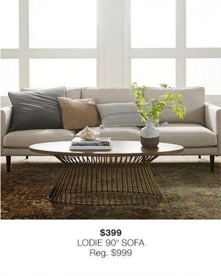 """$399 Lodie 90"""" Sofa, Reg $999"""