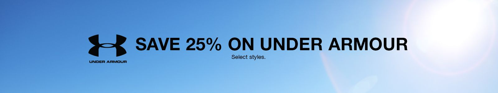 Save 25 percent on Under Armour, Select styles