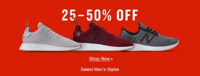 25-50 percent Off, Shop Now, Select Men's Styles
