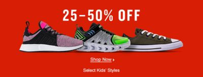 25-50 percent Off, Shop Now, Select kids Styles