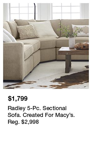 $1,799, Radely 5-Pc, Sectional Sofa, Created For Macy's, Reg. $2,998
