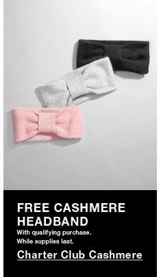 Free Cashmere Headband, Charter Club Cashmere
