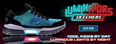 Luminators, Skechers, Shop Now, Cool Licks by Day, Luminous Lights by Night