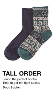 Tall Order, Found the perfect boots? Time to get the right socks, Boot Socks