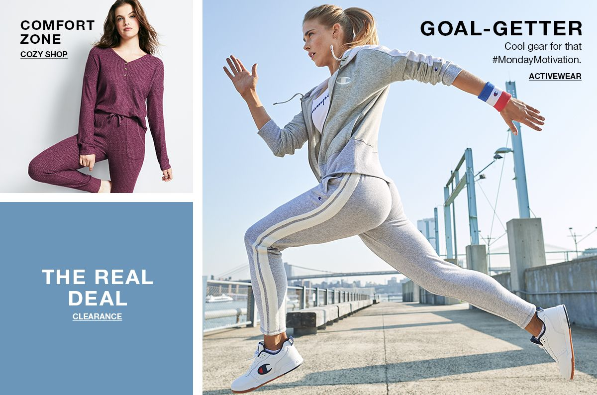 Comfort Zone, Cozy Shop, The Real Deal, Clearance, Goal- Getter, Activewear