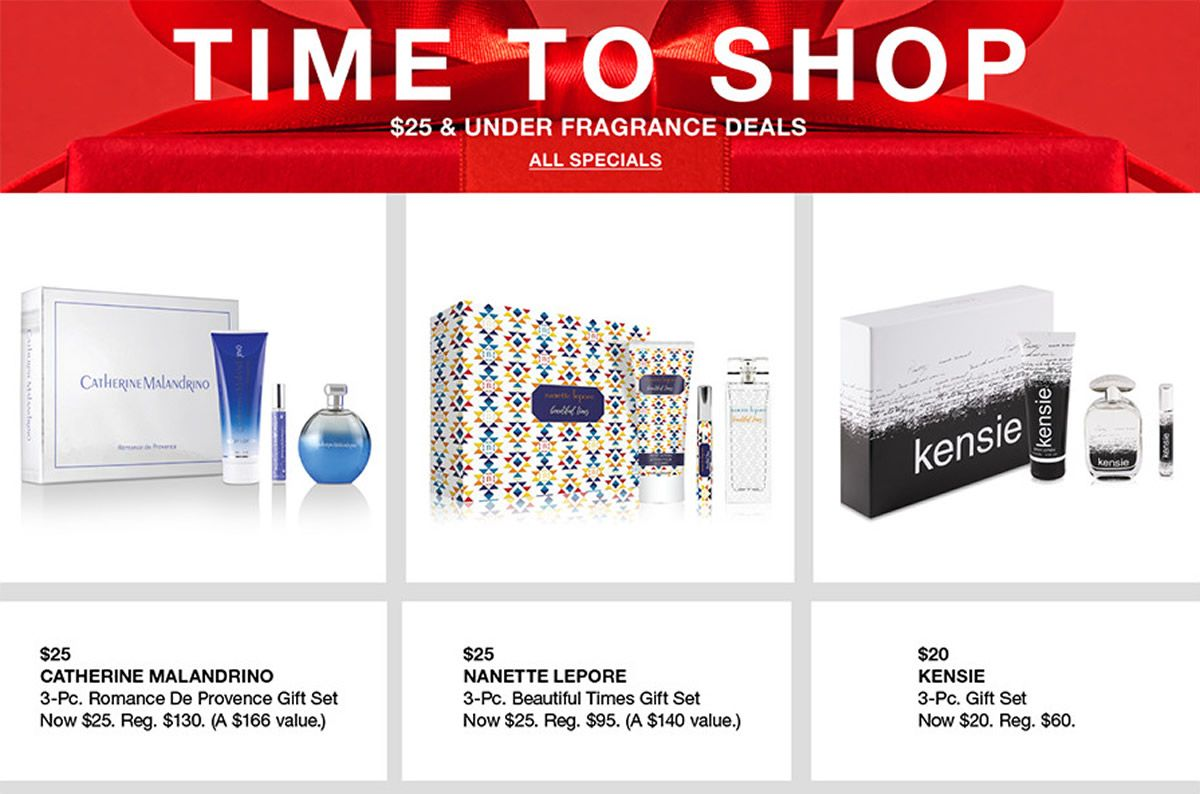 Time to Shop, $25 and Under Fragrance Deals, All Specials, $25 Catherine Malandrino, $25 Nanette Lepore, $20 Kensie, 3-pc, Gift Set