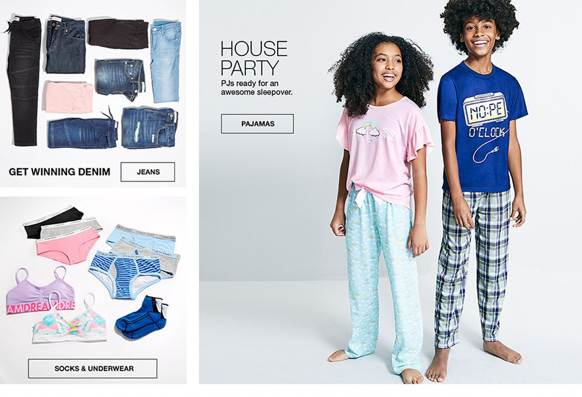 Get Winning Denim, Jeans, Socks and Underwear, House Party, Pjs ready for