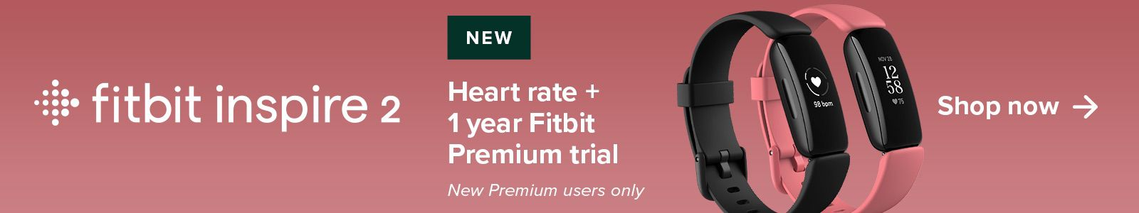 Fitbit inspire 2, New Heart rate + 1 year Fitbit Premium trail