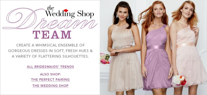 The Wedding Shop Dream Team, Create a Whimsical Ensemble of Gorgeous Dresses in Soft, Fresh Hues and a Variety of Flattering Silhouettes