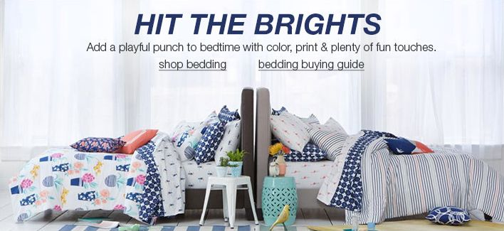 Hit The Brights, Add a playful punch to bedtime with color, print and plenty of fun touches, shop bedding, bedding buying guide