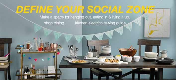 Define Your Social Zone, Make a space for hanging out, eating in & living it up, shop dining, kitchen electrics buying guide