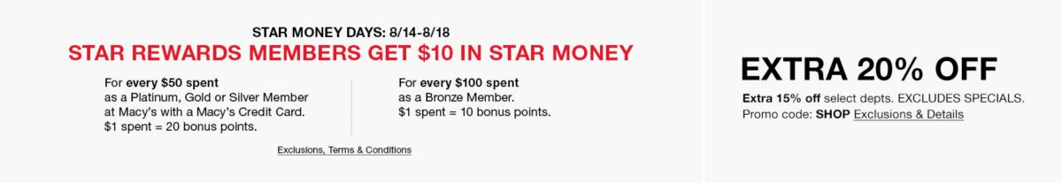 Star Money Days 08/14-08/18, Bronze Members, Get $10 in Star Money, Exclusion, Terms and Conditions apply, Bronze Turns One!