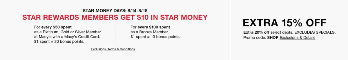 Star Money Days 08/14-08/18, Bronze Members, Get $10 in Star Money, Exclusion, Terms and Conditions apply,