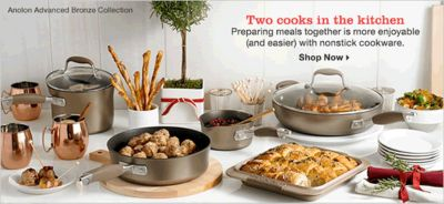 Two cooks in the kitchen Preparing meals together is more enjoyable (and easier) with nonstick cookware, Shop Now